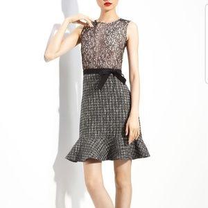 RED Valentino Lace & Metallic Tweed Dress
